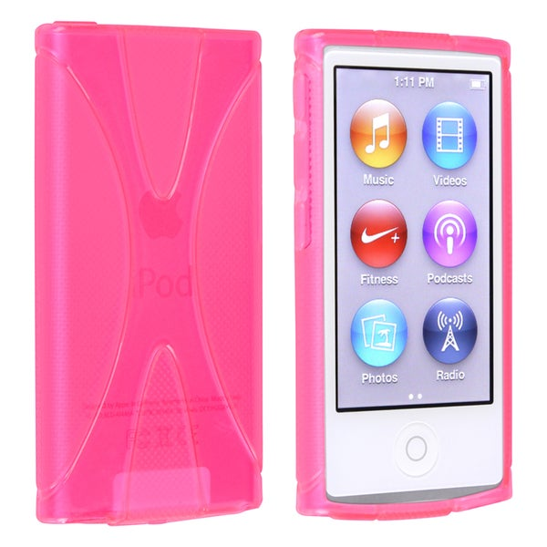 INSTEN Pink TPU Rubber Skin iPod Case Cover for Apple iPod nano 7th Generation
