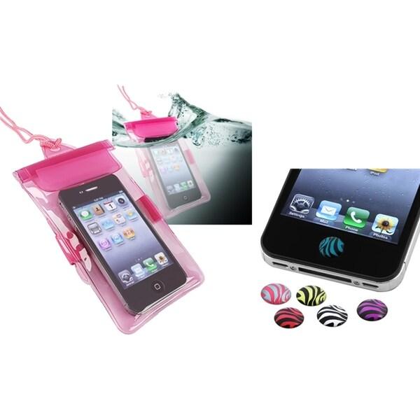 INSTEN Hot Pink Waterproof Bag/ HOME Sticker for Apple iPhone 4/ 4S