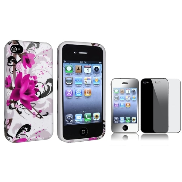 INSTEN Flower TPU Phone Case Cover/ Mirror LCD Protector for Apple iPhone 4/ 4S