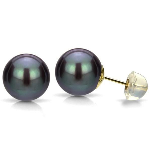 DaVonna 14k Gold Black Perfect Round Akoya Pearl Stud Earrings (5.5-6 mm )