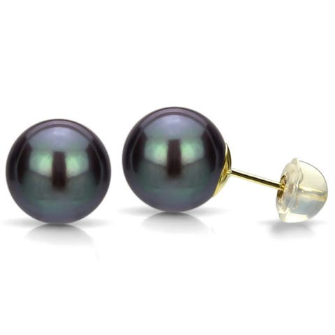 DaVonna 14k Gold Black Perfect Round FreshwaterPearl Stud Earrings (6-7mm )