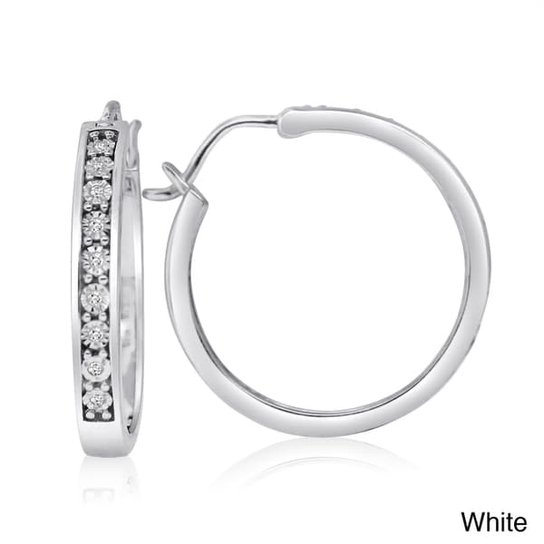 Sterling Silver White or Color Diamond Hoop Earrings (H-I, I1-I2)