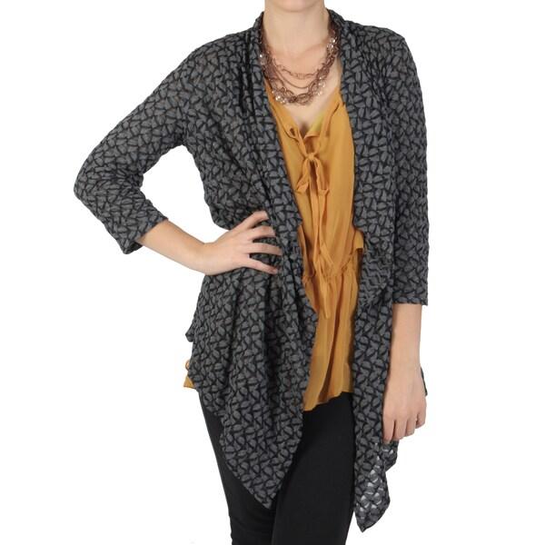 Status Brand Women's Three-quarter Sleeve Drape Front Cardigan