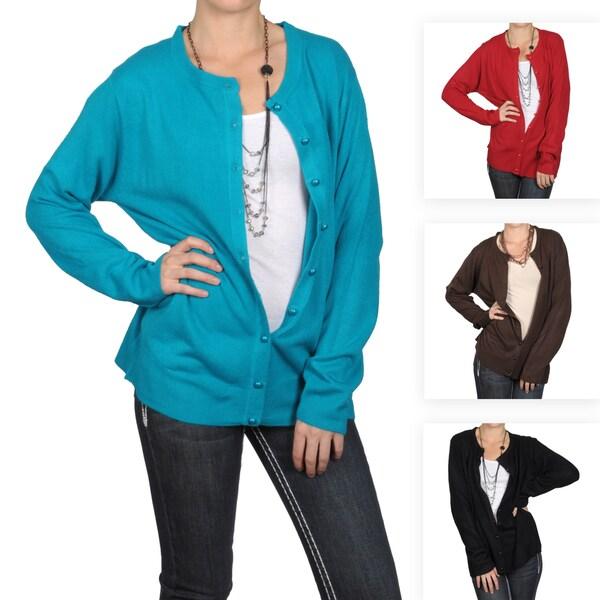 Tressa Designs Women's Contemporary Plus Button-up Cardigan
