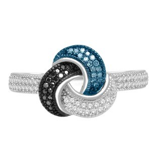 De Couer Sterling Silver 1/4ct TDW Blue, Black and White Diamond Ring (H-I, I2)