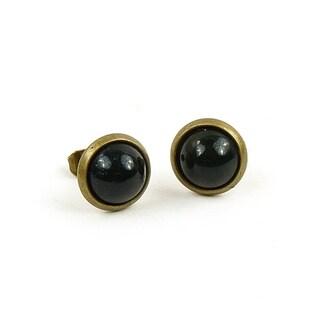 Pretty Little Style Antique Bronze Gemstone Stud Earrings