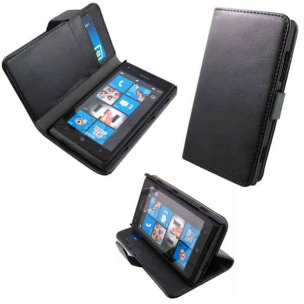 Deluxe Black Vegan Leather Folio Case for Nokia Lumia 920