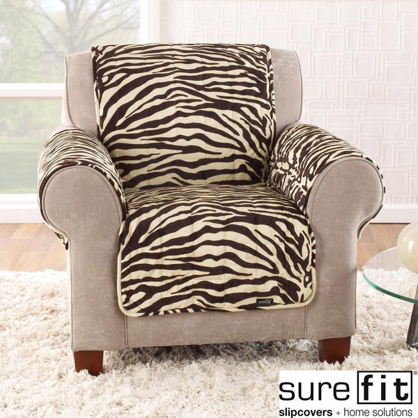 Sure Fit Velvet Zebra Brown Chair Cover
