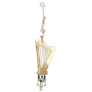 Handcrafted Harp Mixed Metals Ornament  , Handmade in Thailand