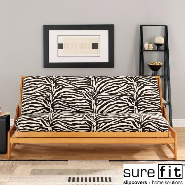 Sure Fit Velvet Zebra Black And White Futon Cover