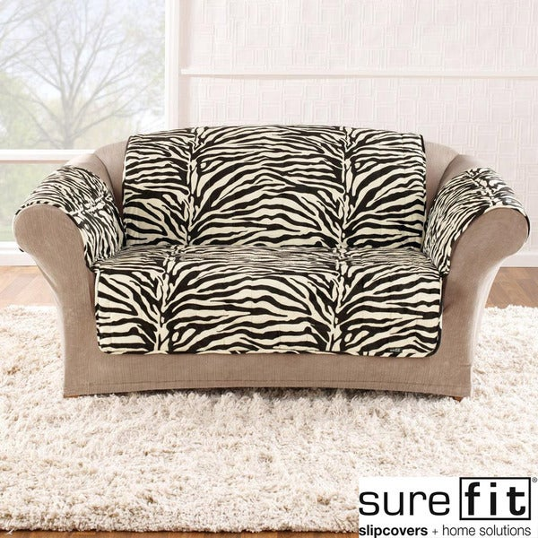 Velvet Zebra Black and White Sofa Cover