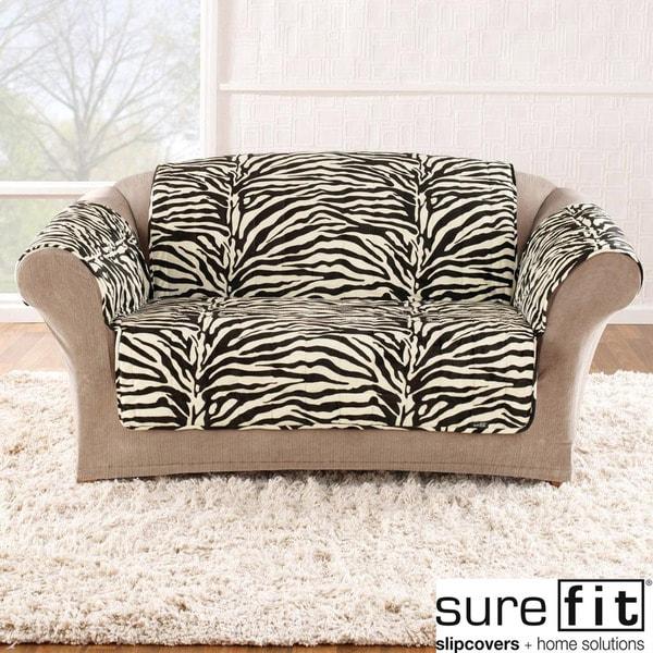 Sure Fit Velvet Zebra Black and White Loveseat Cover