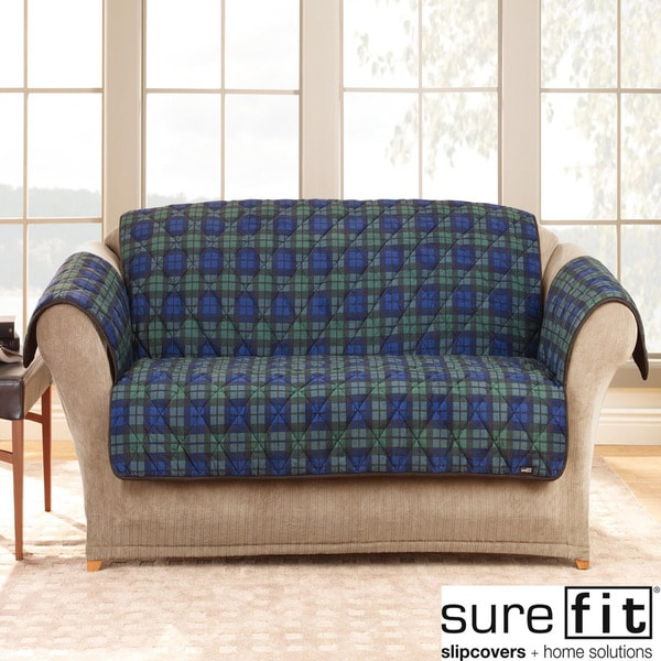 Sure Fit Deluxe Comfort Blackwatch Plaid Sofa Slipcover