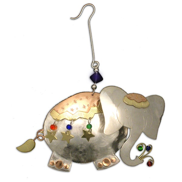 Handcrafted Cheerful Elephant Mixed Metals Ornament (Thailand)