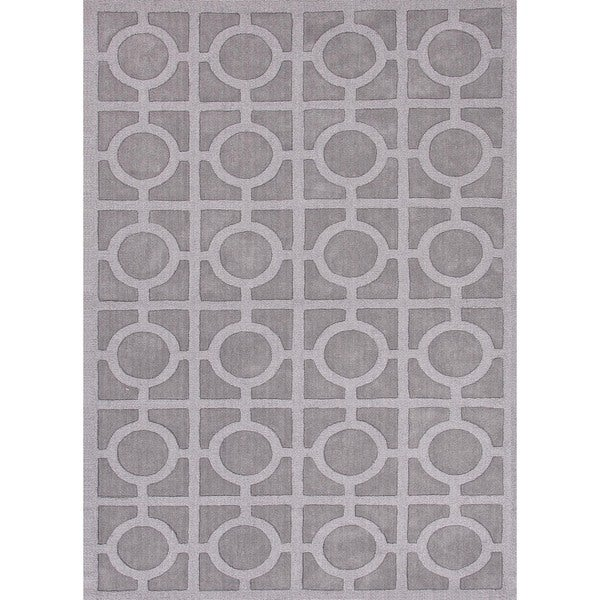 Solid Blue Wool Woven Rug (8' x 11')