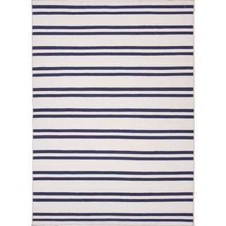 Flat Weave Stripe Ivory/ White Wool Rug (9' x 12')