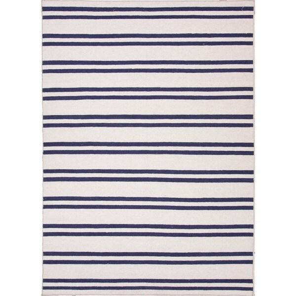 Flat Weave Stripe Ivory/ White Wool Rug (5' x 8')