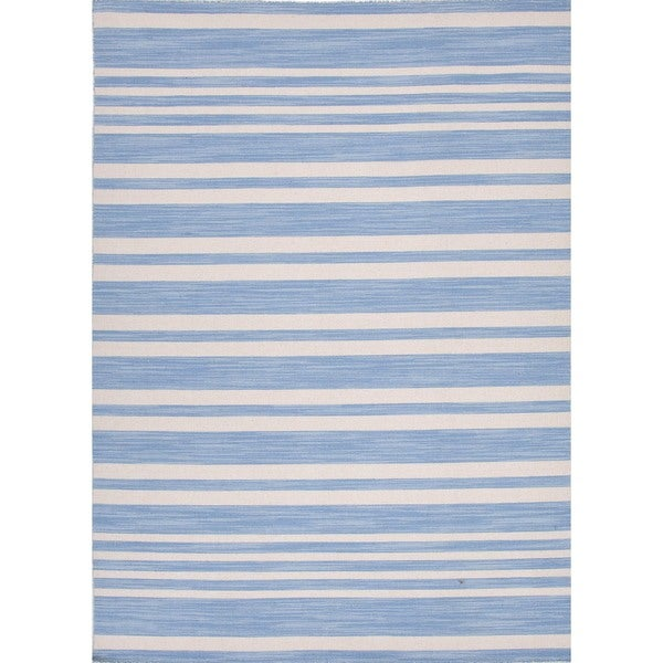 Flat Weave Ink-Blue Stripe Wool Rug (5' x 8')