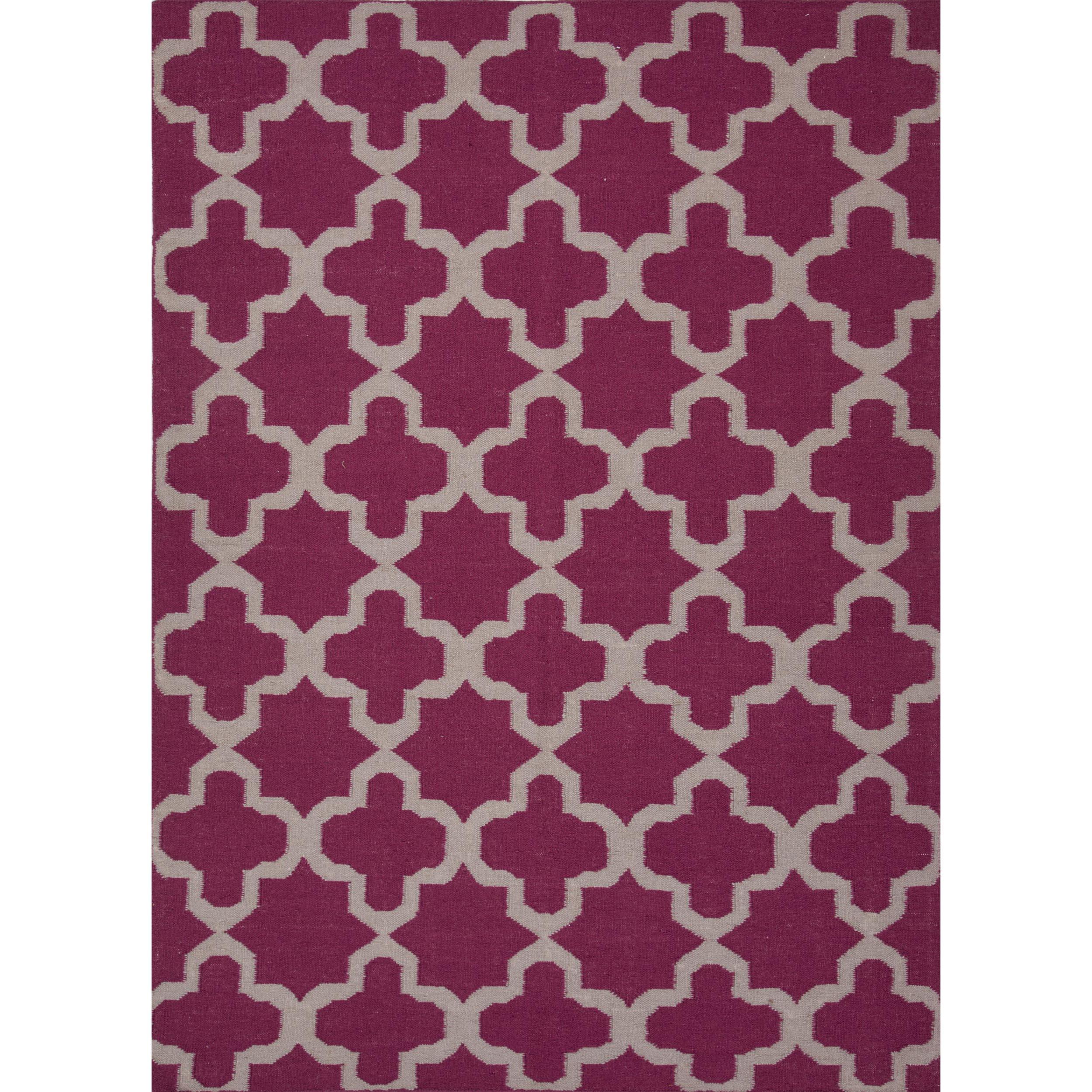Flat Weave Geometric Pink/ Purple Wool Rug (9' x 12')
