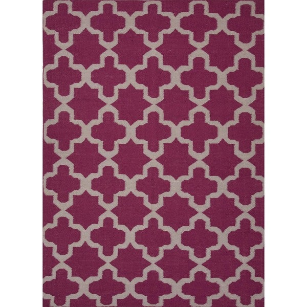 Flat Weave Geometric Pink/ Purple Wool Rug (8' x 10')