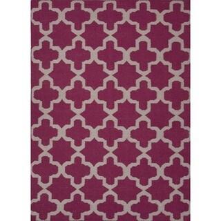 Flat Weave Geometric Pink/ Purple Wool Rug (5' x 8')