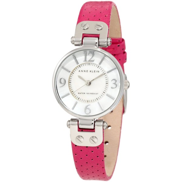 Anne klein women 39 s stainless steel pink calfskin leather strap watch free shipping today for Anne klein leather strap