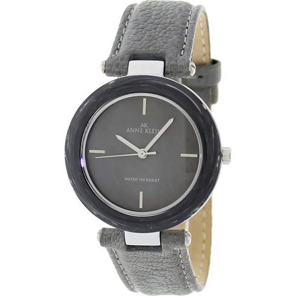 Anne Klein Women's Steel Grey Calfskin Leather Strap Watch