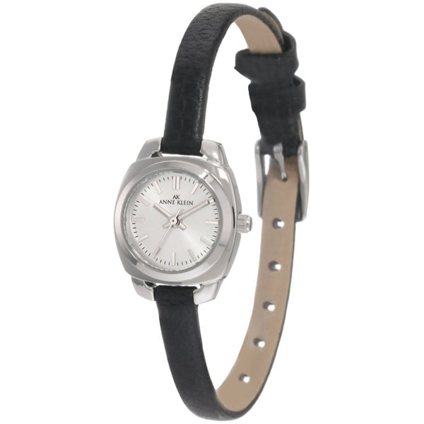 Shop anne klein women 39 s steel black leather strap watch free shipping today for Anne klein leather strap