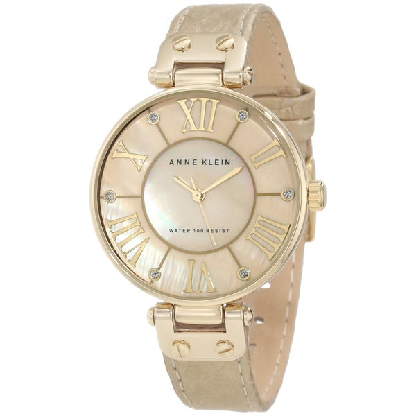 Shop anne klein women 39 s stainless steel beige leather strap watch free shipping today for Anne klein y121e