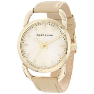 Anne Klein Women's Stainless Steel Beige Leather Strap Watch