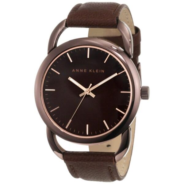 Anne Klein Women's Steel Brown Leather Strap Watch