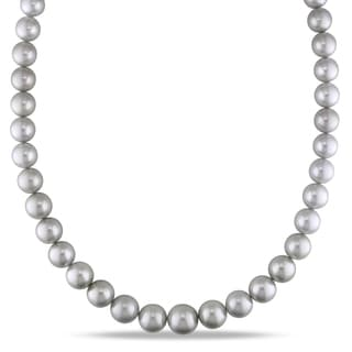 Miadora Tahitian Pearl Cultured Necklace With 14k White Gold Ball Clasp 9 12 Mm