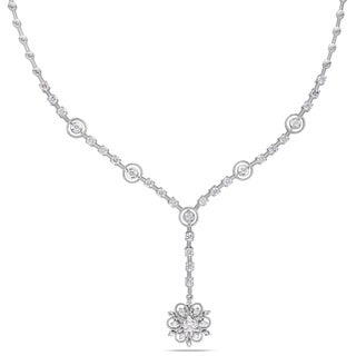 Miadora Signature Collection 14k White Gold 1 4/5ct TDW Diamond Flower Necklace