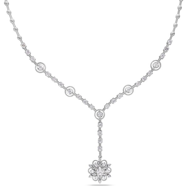 Miadora Signature Collection 14k White Gold 1 4/5ct TDW Diamond Flower Necklace (G-H, SI1-S