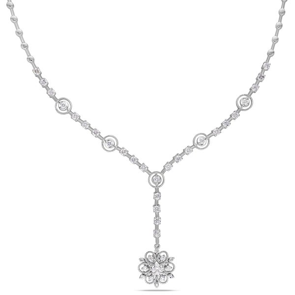 Miadora Signature Collection 14k White Gold 1 4/5ct TDW Diamond Flower Necklace