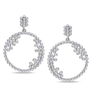 Miadora Signature CollectionMiadora 14k White Gold 1 1/3ct TDW Diamond Circle Earrings