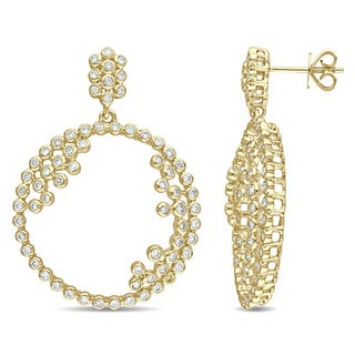 Miadora Signature Collection 14k Yellow Gold 1 1/3ct TDW Diamond Open Circle Dangle Earrings