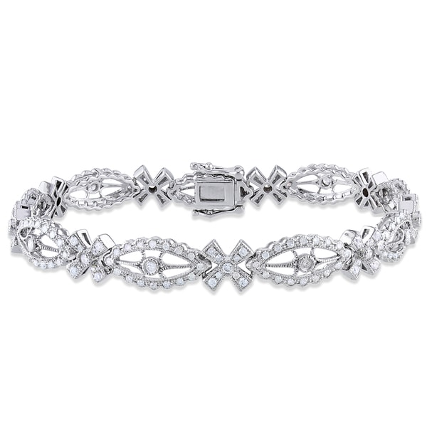 Miadora Signature Collection 14k White Gold 1 3/5ct TDW Diamond Bracelet (G-H, I1-I2)
