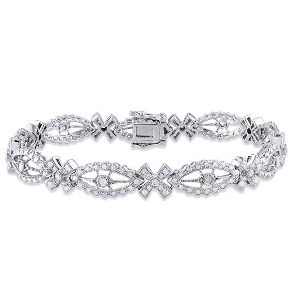 Miadora Signature Collection 14k White Gold 1 3/5ct TDW Diamond Bracelet