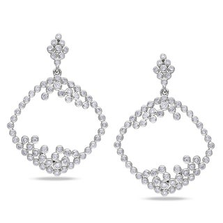 Miadora 14k White Gold 1 1/3ct TDW Diamond Earrings