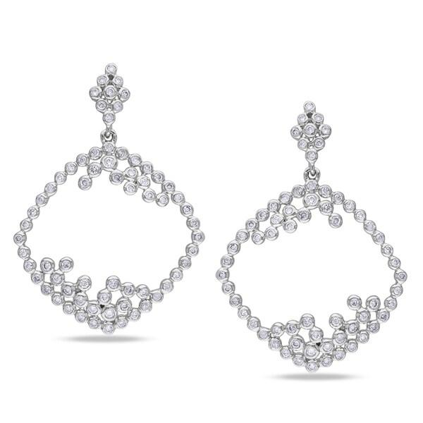 Miadora 14k White Gold 1 1/3ct TDW Diamond Earrings