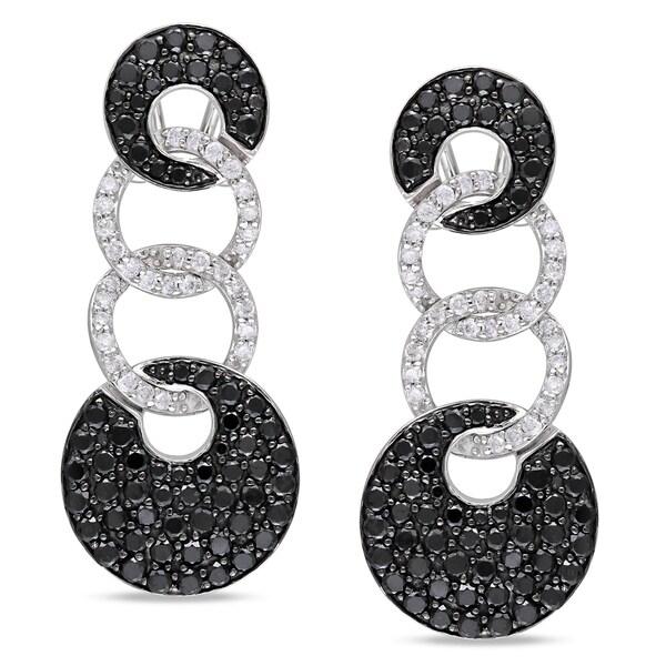 Miadora Signature Collection 14k White Gold 3ct TDW Black and White Diamond Earrings