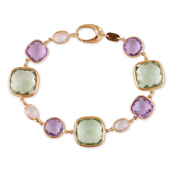 Miadora Signature Collection 18k Rose Gold Multi-colored Amethyst Bracelet