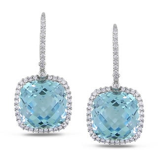 Miadora Signature Collection 14k Gold Blue Topaz and 7/8ct TDW Diamond Earrings (G-H, SI1-SI2)