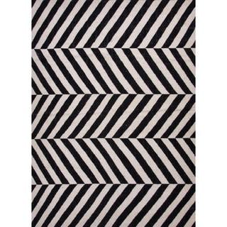 Flat-Weave Striped Geometric Gray/Black Wool Rug (8' x 10')