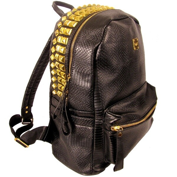 Garin Snake Print PU Leather Studded Backpack