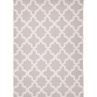 Flat Weave Geometric Gray/ Black Wool Rug (8' x 10')