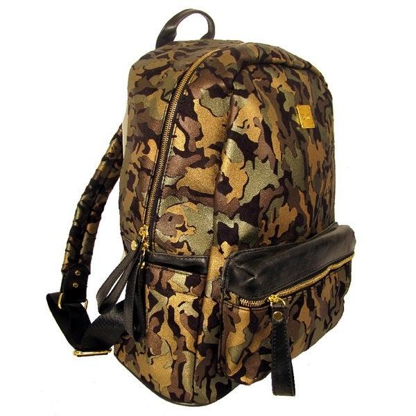 Garin Camo Print Microsuede Backpack