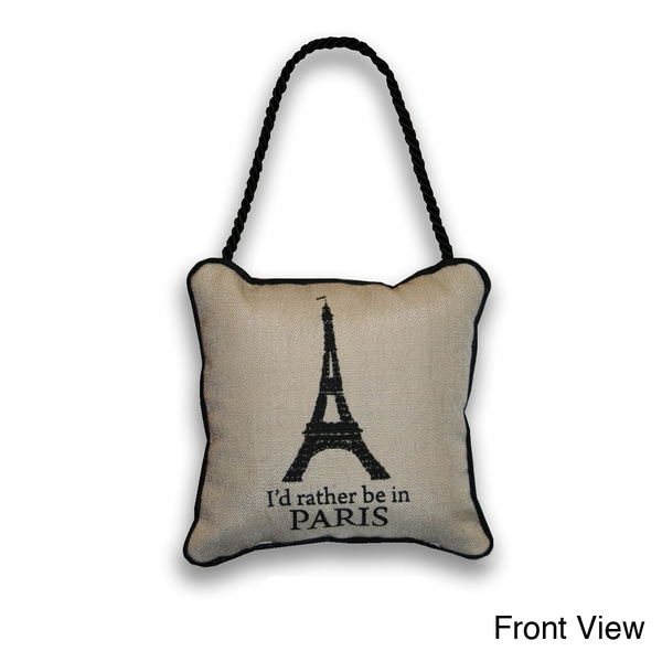 Reversible 'Eiffel Tower/ Bienvenue' 6-inch Door Hanger Pillow