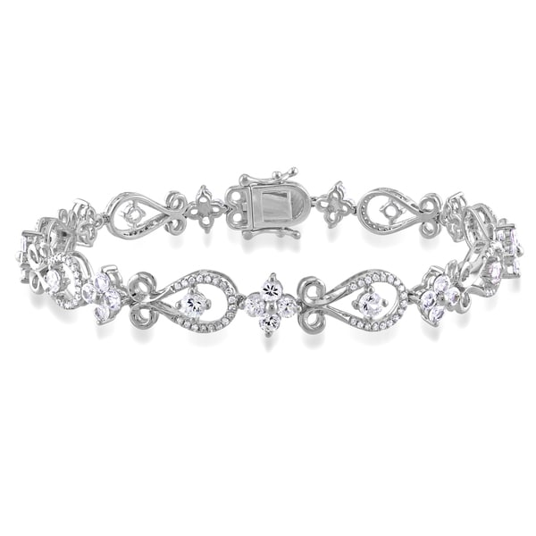 Miadora Signature Collection 10k Gold Sapphire and 1/2ct TDW Round-cut Diamond Bracelet (G-H, I1-I2)